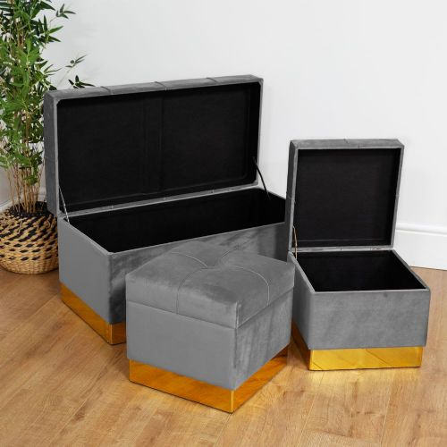 Grey Velvet Storage Ottoman Set Of 3 Pretty Upholstered Home Storage Chests & Stools